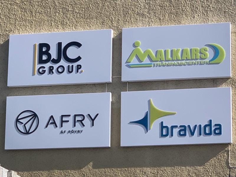 skyltar BJC, Bravida-Afry-Malkars